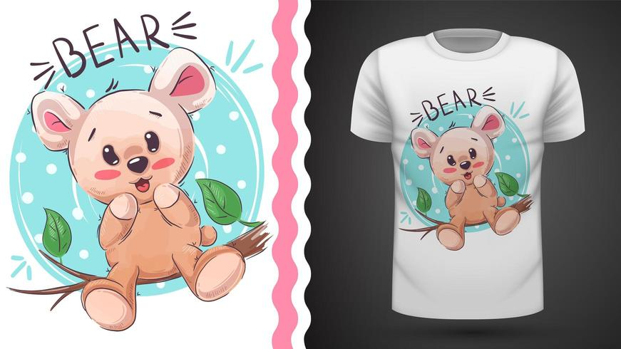 Cute happy teddy - idea for print t-shirt vector
