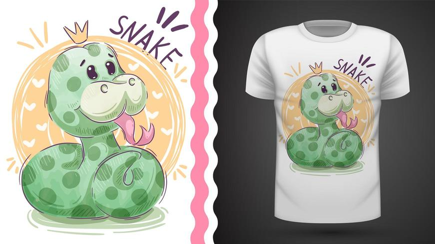 Simpatico serpente principessa - idea per t-shirt stampata