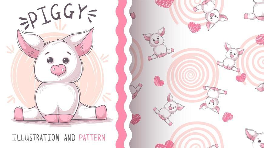Cute teddy pig - seamless pattern