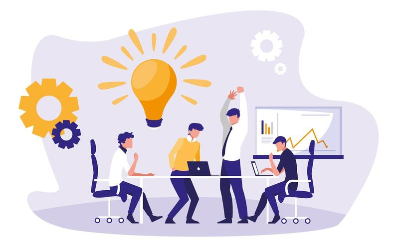 empresarios en el lugar de trabajo vector