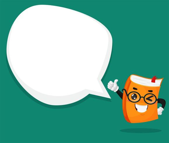 Orange book character Hold the thumb and the text box blank.