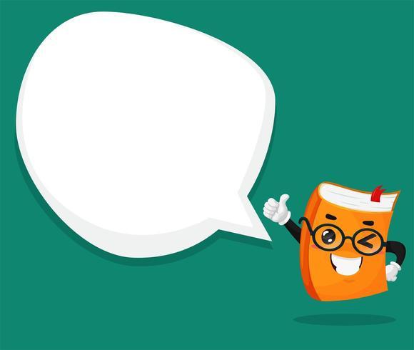Caractère de livre orange Tenez le pouce et la zone de texte vierges.