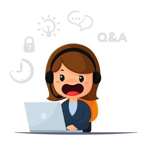 Cartoon Kunden und Beratung.