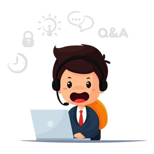 Cartoon customers and providing advice.