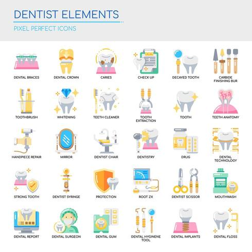 Set of Dentist Elements thin line and pixel perfect icons for any web and app project.