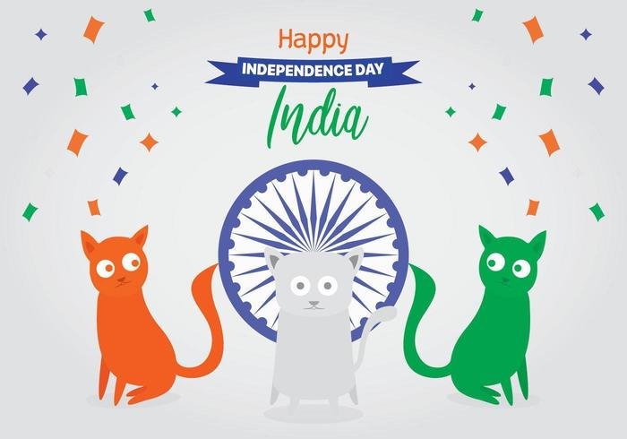 Cats with the flag of Indian Independence day