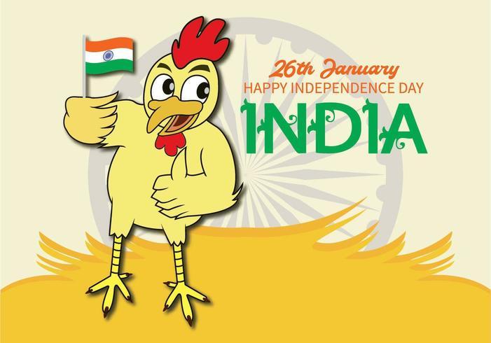 Poulet tenant le drapeau de l'indépendance indienne