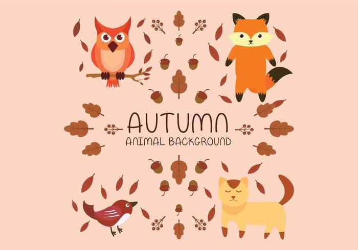 Autumn animal set with fox, cat, bird and owl