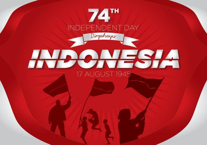 74th Indonesia Independence day image with people and flag silhouettes