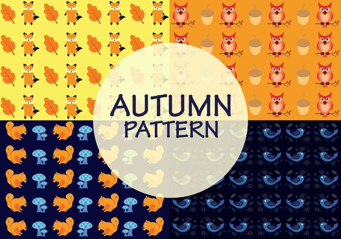 Autumn patterns with a combination of animals, old leaves, acorn and mushrooms