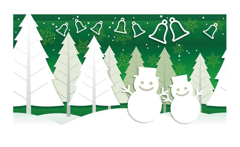 Pupazzi di neve e campane di Natale.