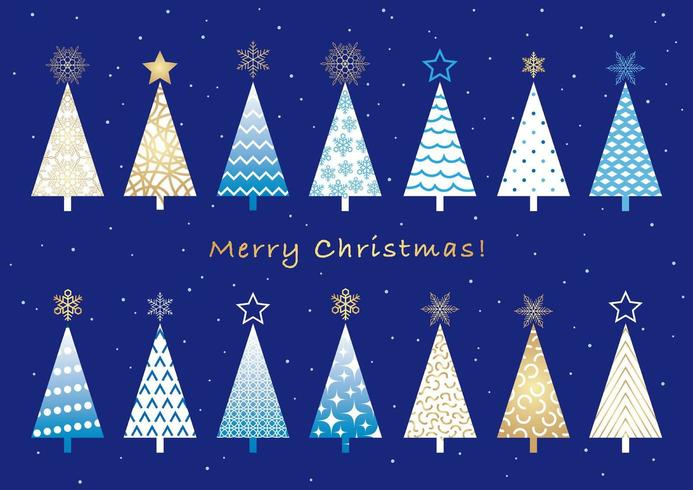 Insieme di alberi di Natale isolato su uno sfondo semplice.