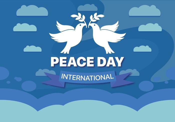 Internationaler Hintergrund des Friedenstages mit Tauben
