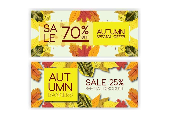 Raccolta dell'insegna di vendite di autunno con le foglie