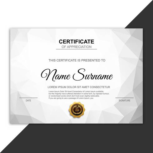 Modern certificate template gray polygon