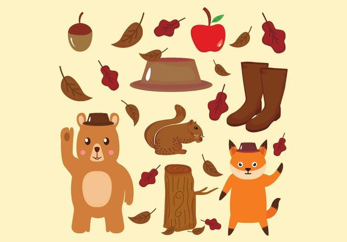 Collezione di animali e icone in autunno