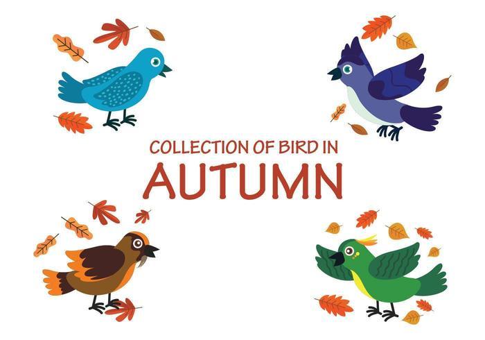 Raccolta degli uccelli che giocano con le foglie in autunno