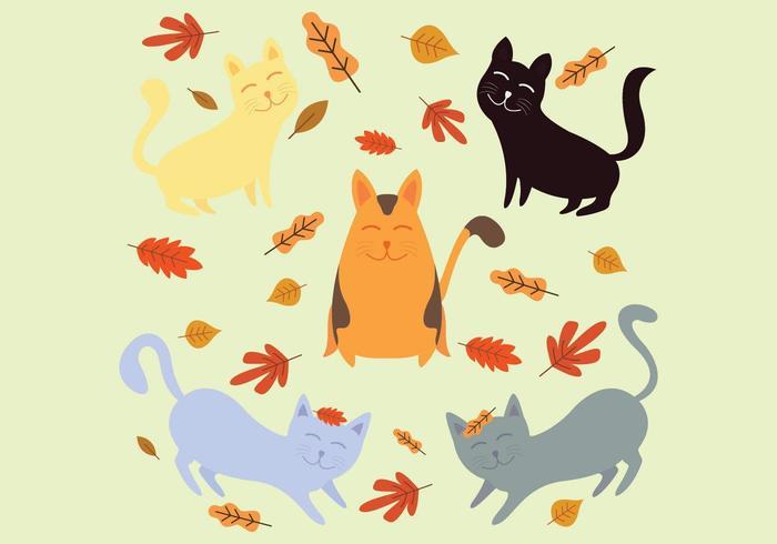 Collection de chats jouant avec des feuilles en automne