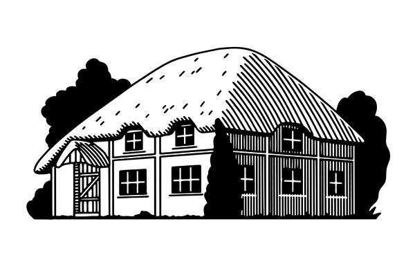 Cottage anglais gravé