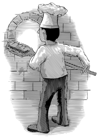 Engraved Baker Pulling Bread from a Brick Oven