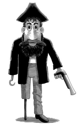 Engraved Cartoon Pirate