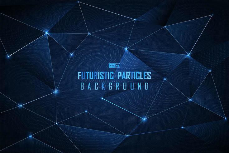 Fundo futurista de partículas de ponto azul