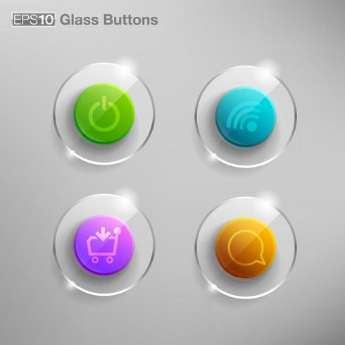Glass buttons set with icons vector