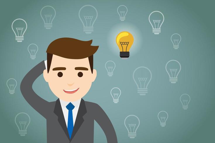 Hombre de negocios pensando con bombillas vector