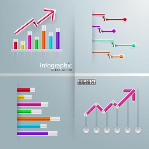 Conjunto de infografía gráfica con barras y flechas