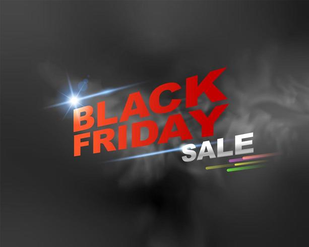 Black Friday sale text with fog background