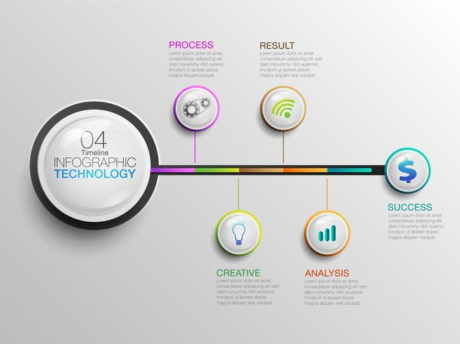 infographic Business Technology Icons Timeline