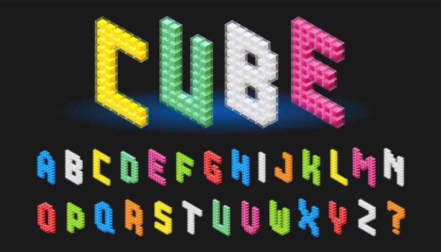 Isometric alphabet font in cube design