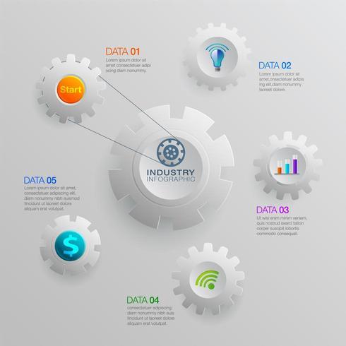 infographie avec des icônes de l'industrie des affaires et la conception d'engins