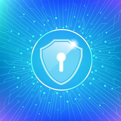 Shield with key hole cyber security protection icon