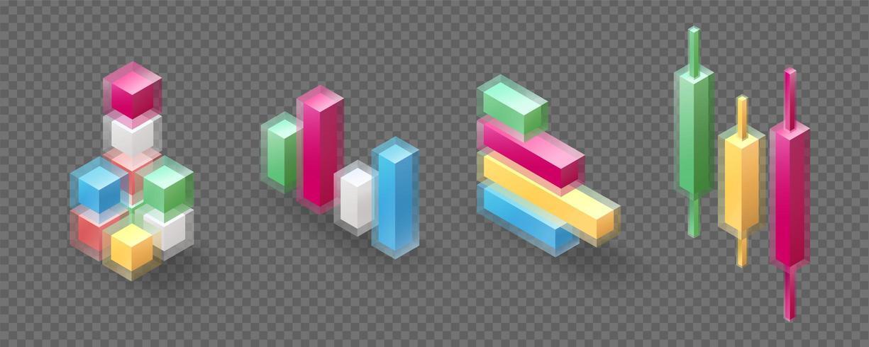 Insieme di oggetti isometrici in vetro trasparente