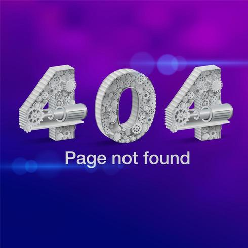 404 error page not found with numbers made of gears vector