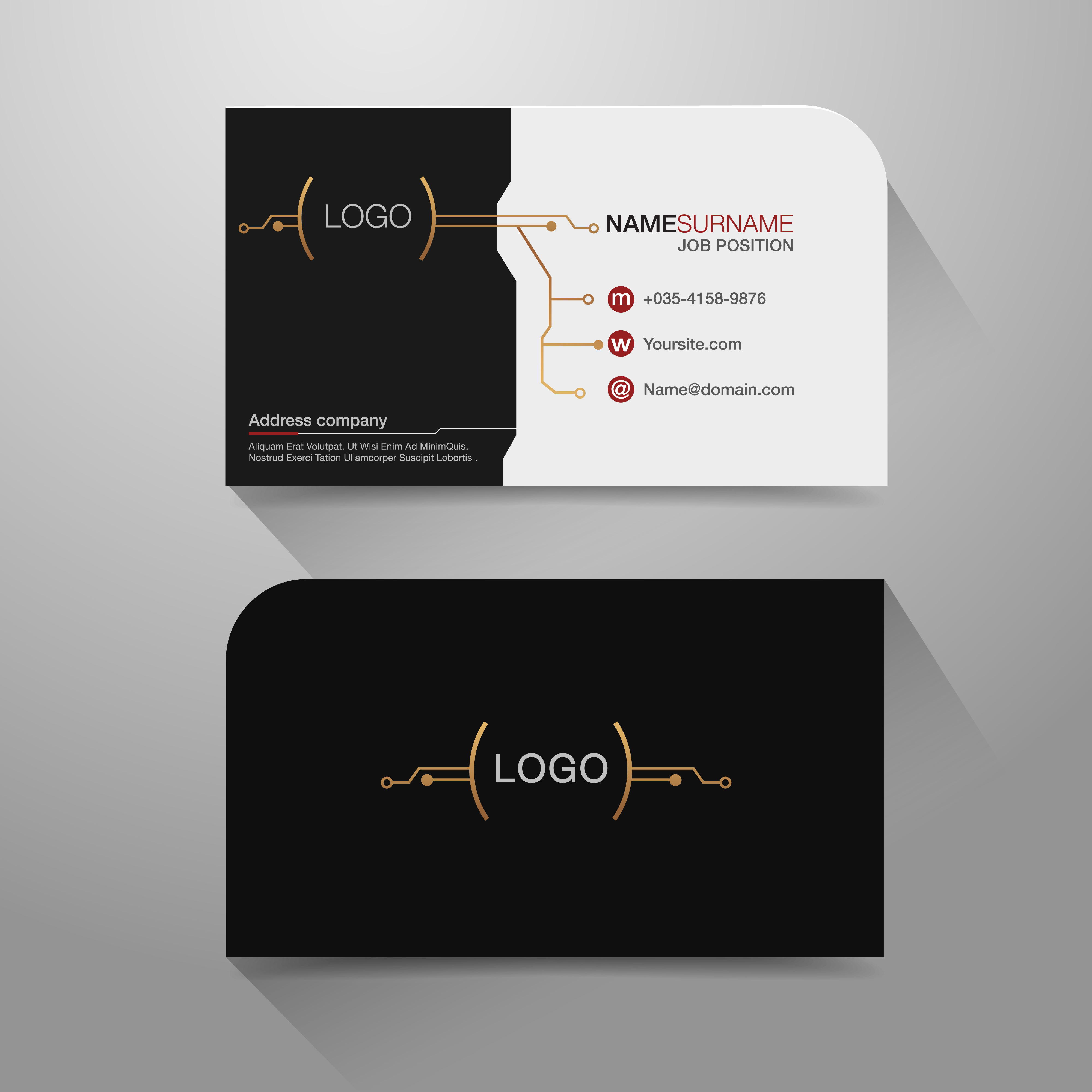 business name card with modern circuit design  download