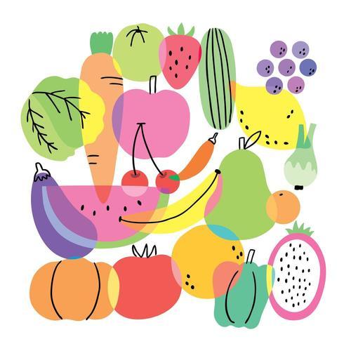 Söta platt färgglada frukter och grönsaker i tecknad film