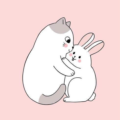 Dibujos animados lindo gato abrazando conejo vector