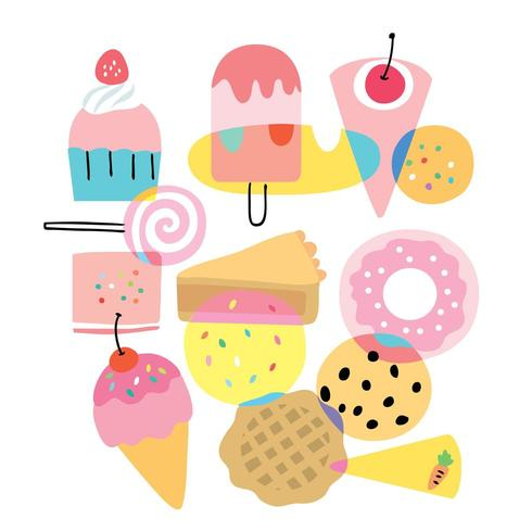 Cartoon cute flat colorful sweet bakery