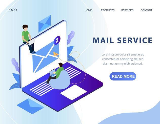 Banner da web de serviço de e-mail isométrico