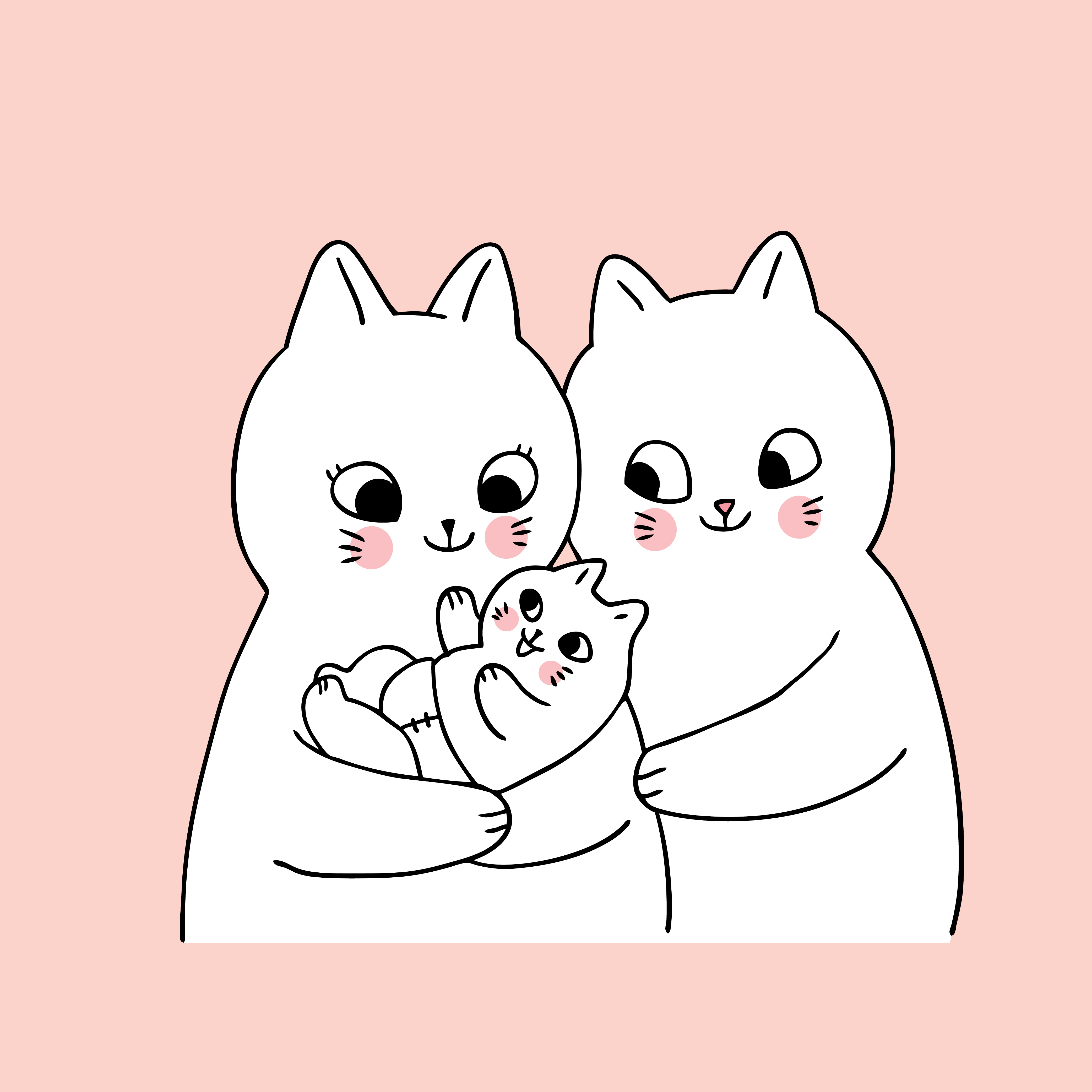 Cartoon cute family cats and new born 680394 - Download ... (4167 x 4167 Pixel)