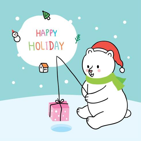 Cartoon cute Christmas polar bear fishing gift
