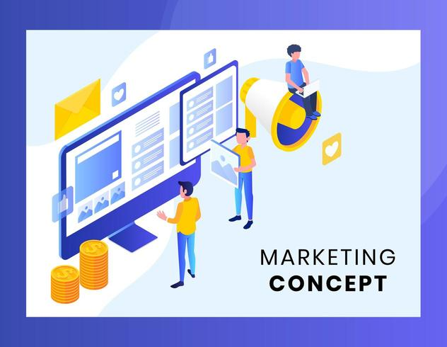 Isometric marketing concept for landing page