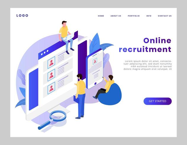 Isometric online recruitment landing page