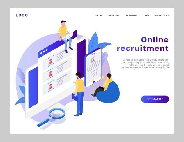 Página de destino do recrutamento on-line isométrico