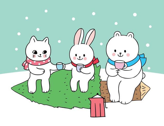 Dibujos animados lindo Navidad gato y conejo y oso polar vector