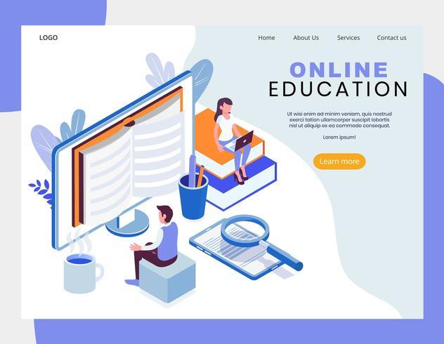 Diseño isométrico de educación en línea. vector