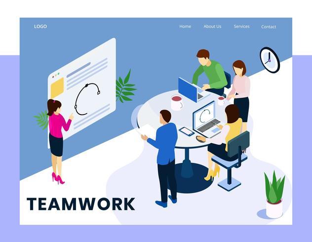 Isometric corporate teamwork concept