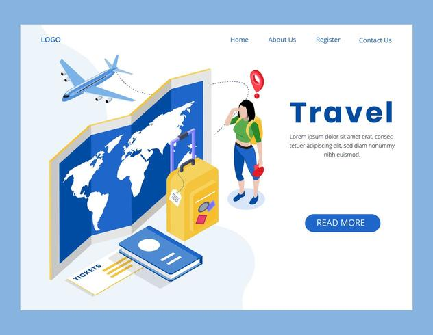 isometric travel concept landing page vector